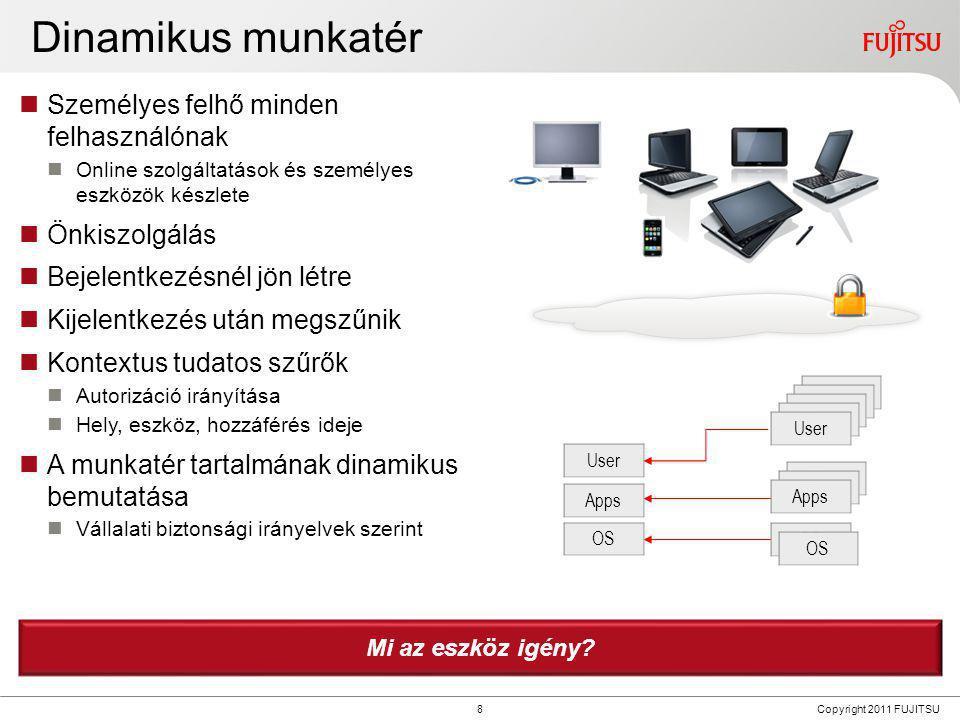 9 Copyright 2011 FUJITSU Az eszköz jelentéktelenné válik  Megszűnik az eszköz alapú elzárt kliens  Bármilyen eszköz hozzáférhet a munkatérhez  Eszközök és OS-ek elburjánzása  Egyre több mobil eszköz  Új eszköztípusok  Fókuszban a tervezés és könnyű felhasználhatóság  Változatos eszközök specifikus felhasználási esetekre  3-4 eszköz felhasználónként (okostelefon, táblagép, eszköz teljes klaviatúrával)  Tükrözi az életvitelt és önkifejezést  Nehézzé teszi az irányítást  Csökkenő érdekeltség az IT eszközökben  CIO fókusz  Eszközök helyett szolgáltatások menedzselése  Applikációk és adat szolgáltatók és biztosítók irányítása  Vállalati IT hozzáférés kontrolálása  Üzlet felvirágoztatása enyhe infrastruktúra helyett Ki választja ki, veszi meg és irányítja a végfelhasználó eszközeit?