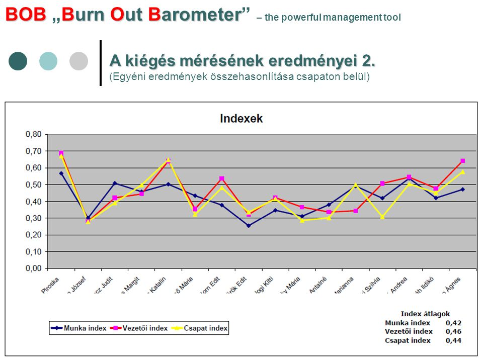"BOBBurn Out Barometer BOB ""Burn Out Barometer – the powerful management tool A kiégés mérésének eredményei 2."
