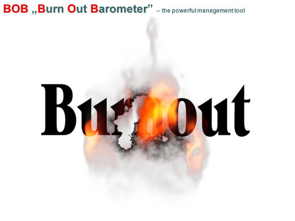"""BOBBurn Out Barometer BOB """"Burn Out Barometer – the powerful management tool A kiégés mérésének eredményei 2."""