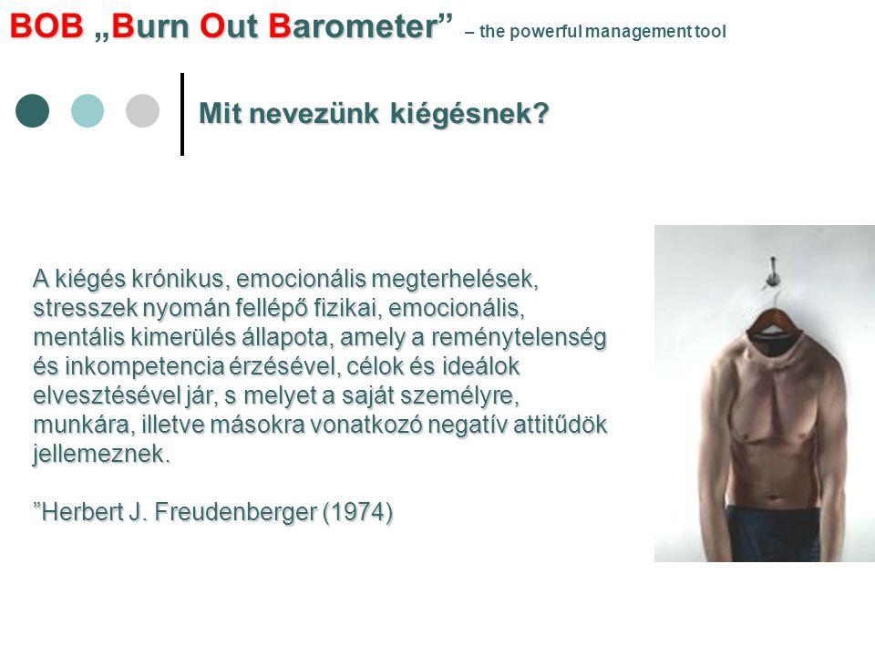 """BOBBurn Out Barometer BOB """"Burn Out Barometer – the powerful management tool Milyen hasznokkal jár a kiégés mérése."""