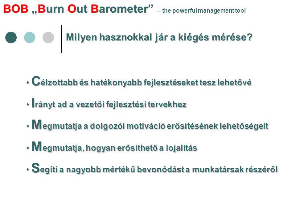 """BOBBurn Out Barometer BOB """"Burn Out Barometer"""" – the powerful management tool Milyen hasznokkal jár a kiégés mérése? • C élzottabb és hatékonyabb fejl"""