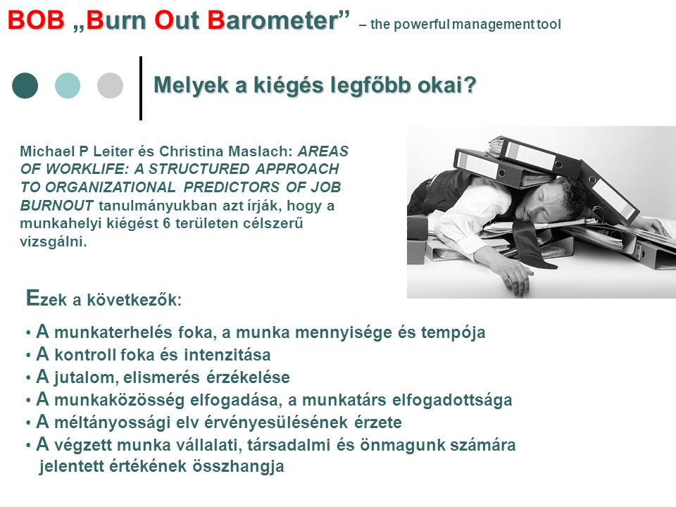 "BOBBurn Out Barometer BOB ""Burn Out Barometer – the powerful management tool Melyek a kiégés legfőbb okai."