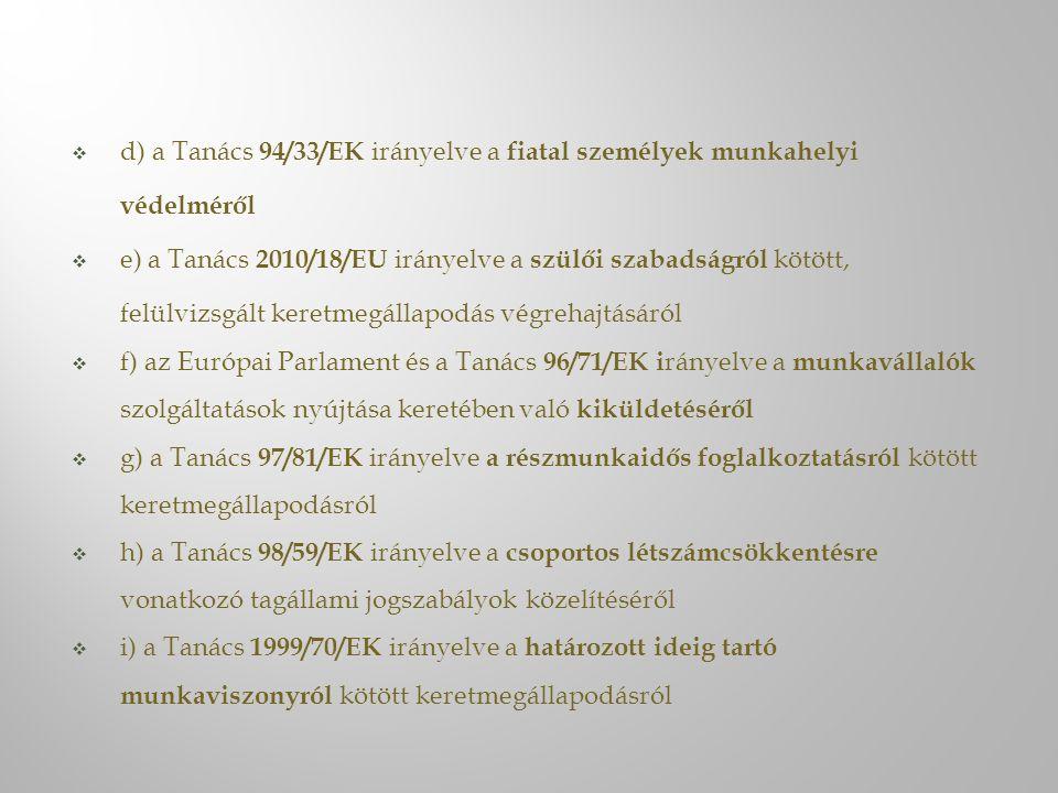  d) a Tanács 94/33/EK irányelve a fiatal személyek munkahelyi védelméről  e) a Tanács 2010/18/EU irányelve a szülői szabadságról kötött, felülvizsgált keretmegállapodás végrehajtásáról  f) az Európai Parlament és a Tanács 96/71/EK i rányelve a munkavállalók szolgáltatások nyújtása keretében való kiküldetéséről  g) a Tanács 97/81/EK irányelve a részmunkaidős foglalkoztatásról kötött keretmegállapodásról  h) a Tanács 98/59/EK irányelve a csoportos létszámcsökkentésre vonatkozó tagállami jogszabályok közelítéséről  i) a Tanács 1999/70/EK irányelve a határozott ideig tartó munkaviszonyról kötött keretmegállapodásról