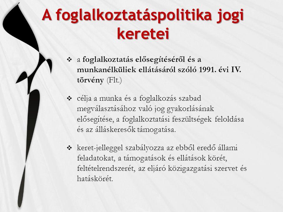 A foglalkoztatáspolitika jogi keretei  a foglalkoztatás elősegítéséről és a munkanélküliek ellátásáról szóló 1991. évi IV. törvény (Flt.)  célja a m