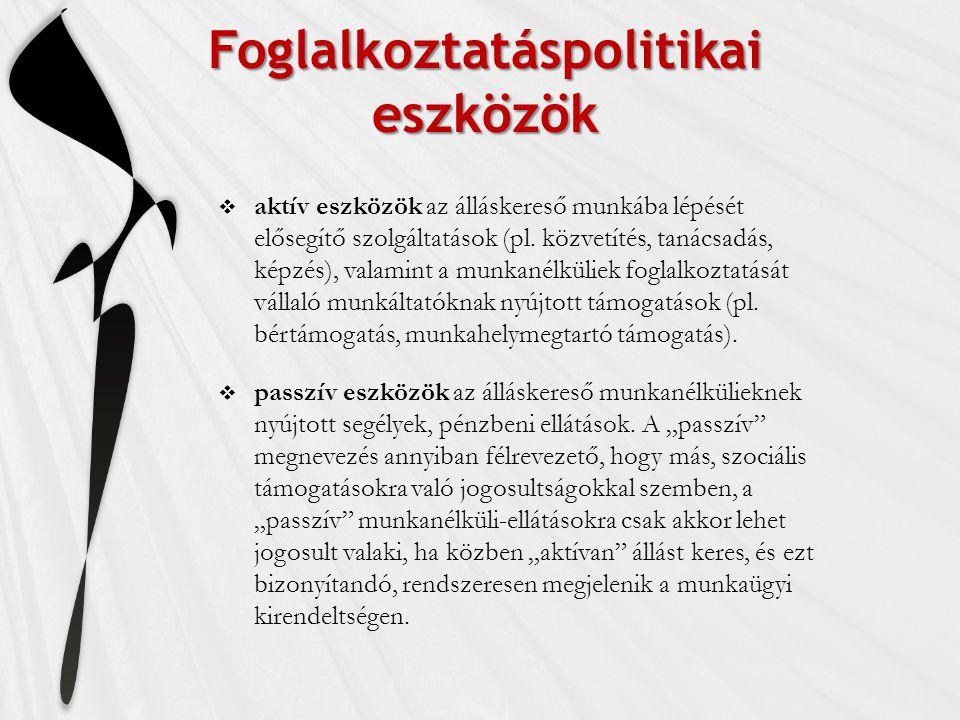 Foglalkoztatáspolitikai eszközök  aktív eszközök az álláskereső munkába lépését elősegítő szolgáltatások (pl.