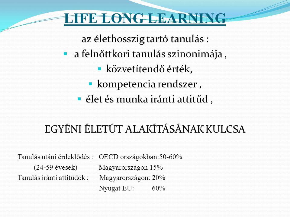 LIFE LONG LEARNING az élethosszig tartó tanulás :  a felnőttkori tanulás szinonimája,  közvetítendő érték,  kompetencia rendszer,  élet és munka i