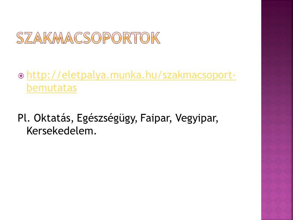  http://eletpalya.munka.hu/szakmacsoport- bemutatas http://eletpalya.munka.hu/szakmacsoport- bemutatas Pl. Oktatás, Egészségügy, Faipar, Vegyipar, Ke