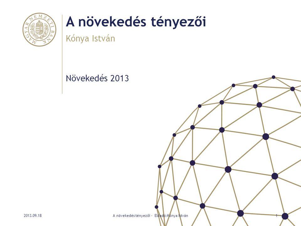 A beruházási ék dekompozíciója • A külső (reál)kamat-prémium Magyarországon és Lengyelországban jelentős volt, különösen az időszak első felében • A reálkamat-prémium csökkenése nem jelenti automatikusan a beruházási ék csökkenését • Magyarországon volt a legszorosabb a kapcsolat a külföldi finanszírozás költsége és a beruházás hatékonysága között 2013.09.18A növekedés tényezői - Előadó:Kónya István22