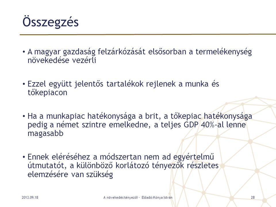 Összegzés • A magyar gazdaság felzárkózását elsősorban a termelékenység növekedése vezérli • Ezzel együtt jelentős tartalékok rejlenek a munka és tőke