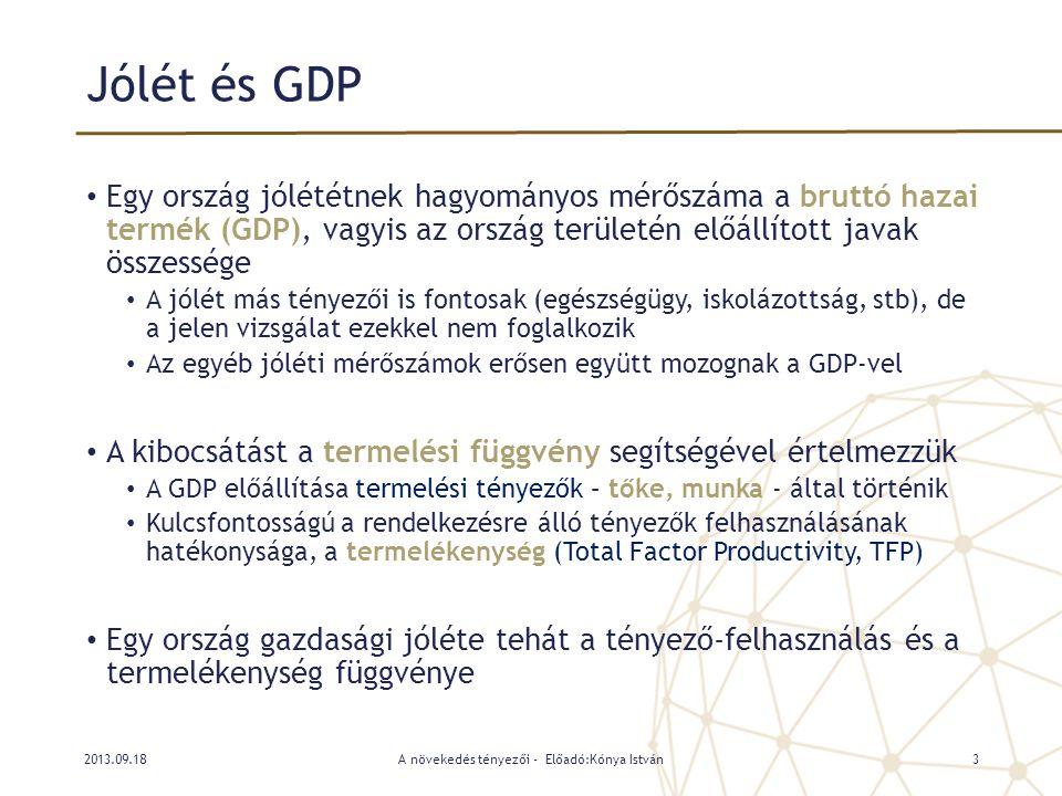 Jólét és GDP • Egy ország jólététnek hagyományos mérőszáma a bruttó hazai termék (GDP), vagyis az ország területén előállított javak összessége • A jó