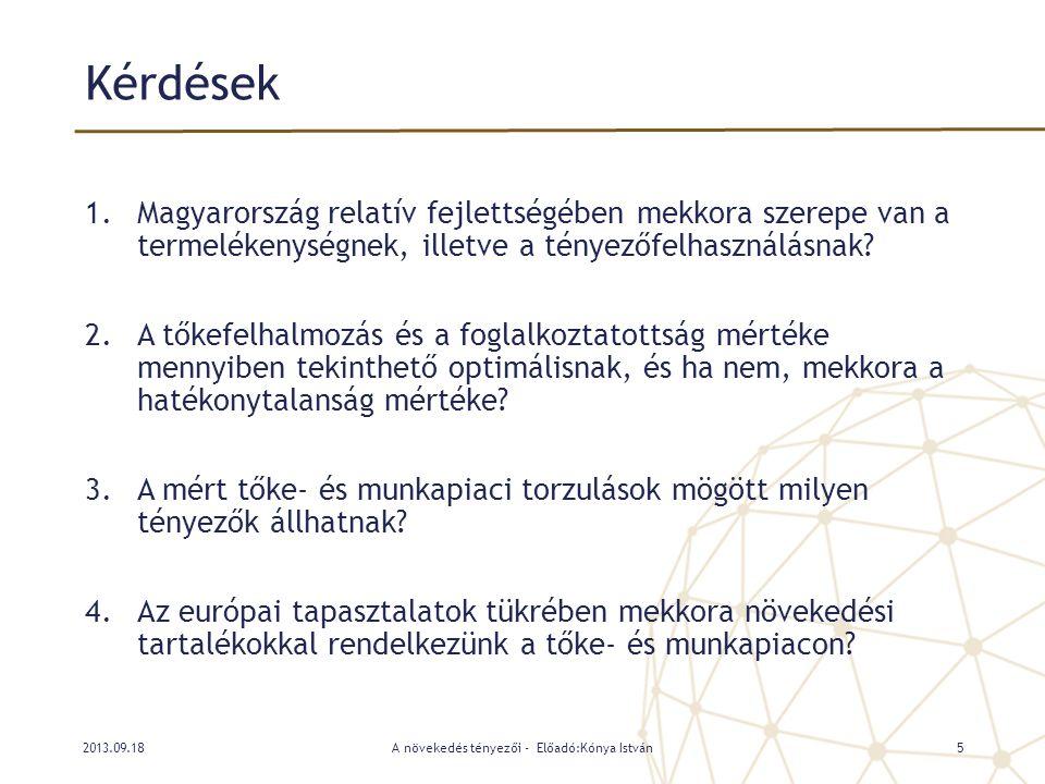Kérdések 1.Magyarország relatív fejlettségében mekkora szerepe van a termelékenységnek, illetve a tényezőfelhasználásnak? 2.A tőkefelhalmozás és a fog
