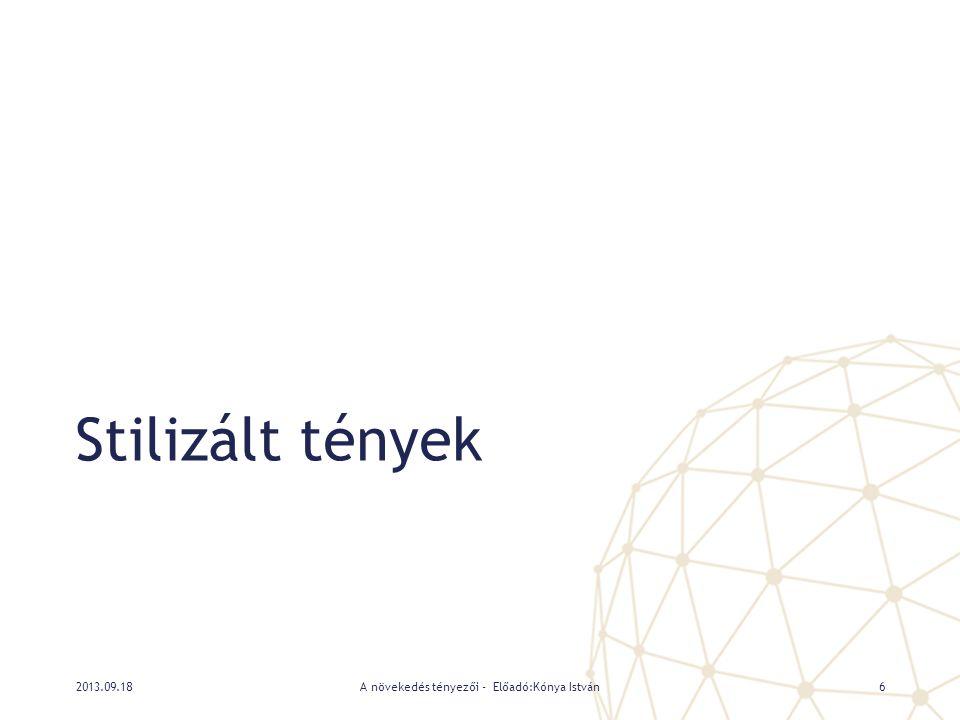 Adatok: nemzetközi összehasonlíthatóság • Penn World Table 7.0 • Vásárlóerő-paritáson mért nemzeti számlák • Labor Force Survey • Foglalkoztatás és népesség • Jegybanki statisztikák • Jegybanki alapkamat • OECD Economic Outlook • Növekedési és infláció várakozások 2013.09.18A növekedés tényezői - Előadó:Kónya István7