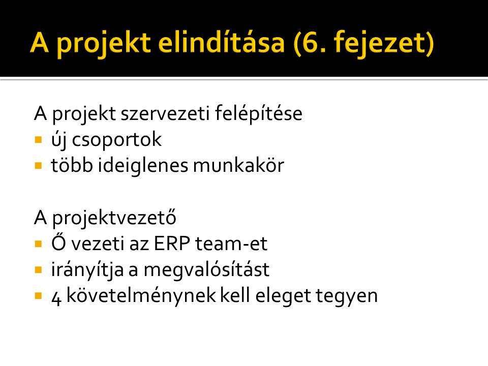 A projekt szervezeti felépítése  új csoportok  több ideiglenes munkakör A projektvezető  Ő vezeti az ERP team-et  irányítja a megvalósítást  4 követelménynek kell eleget tegyen