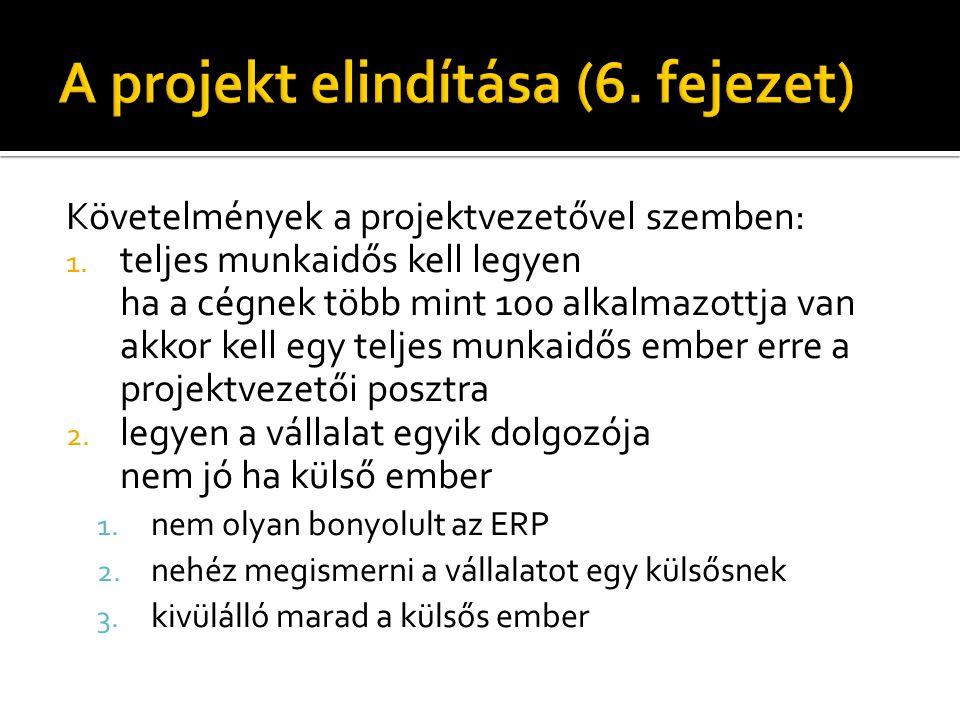 Követelmények a projektvezetővel szemben: 1.