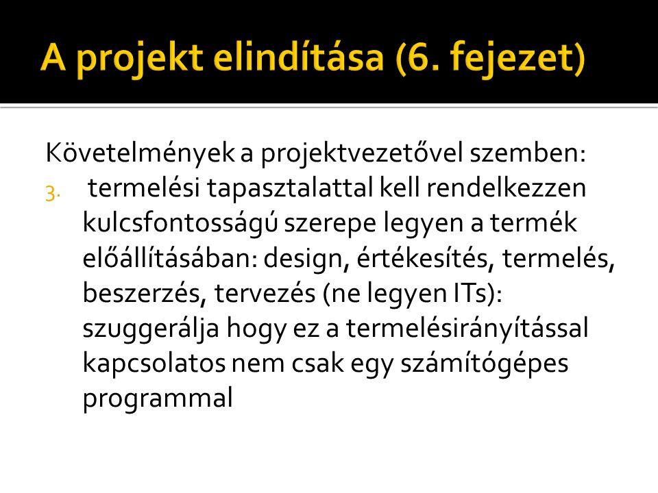 Követelmények a projektvezetővel szemben: 3.