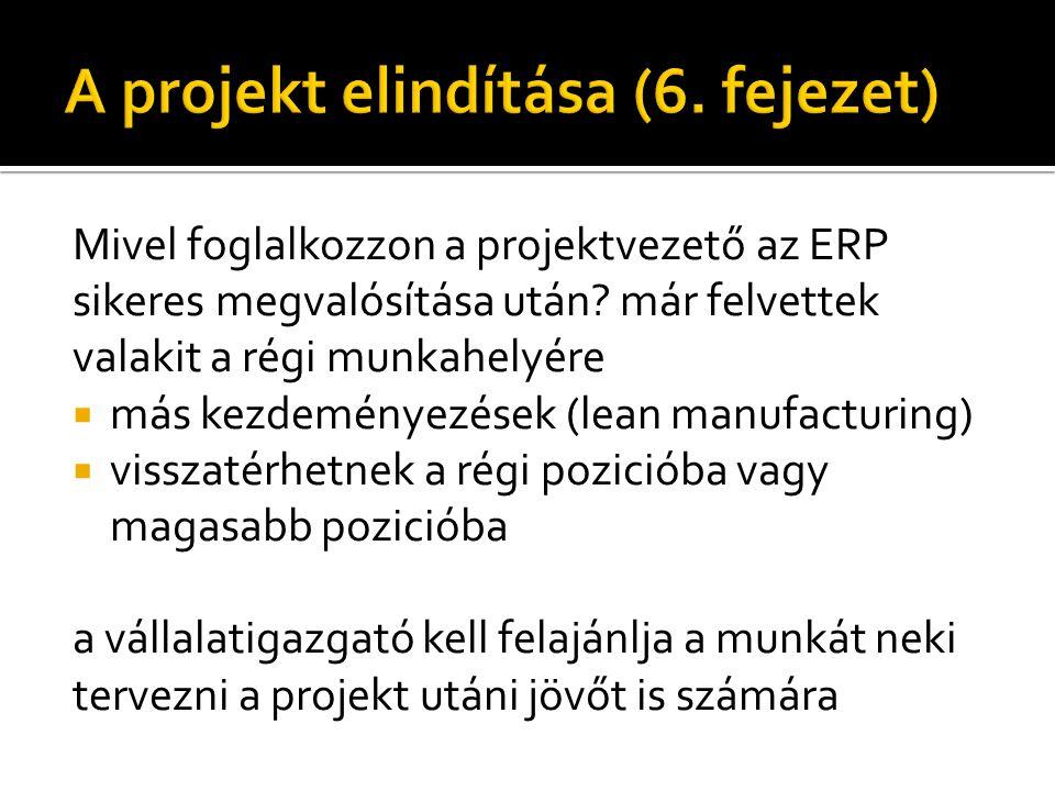 Mivel foglalkozzon a projektvezető az ERP sikeres megvalósítása után.