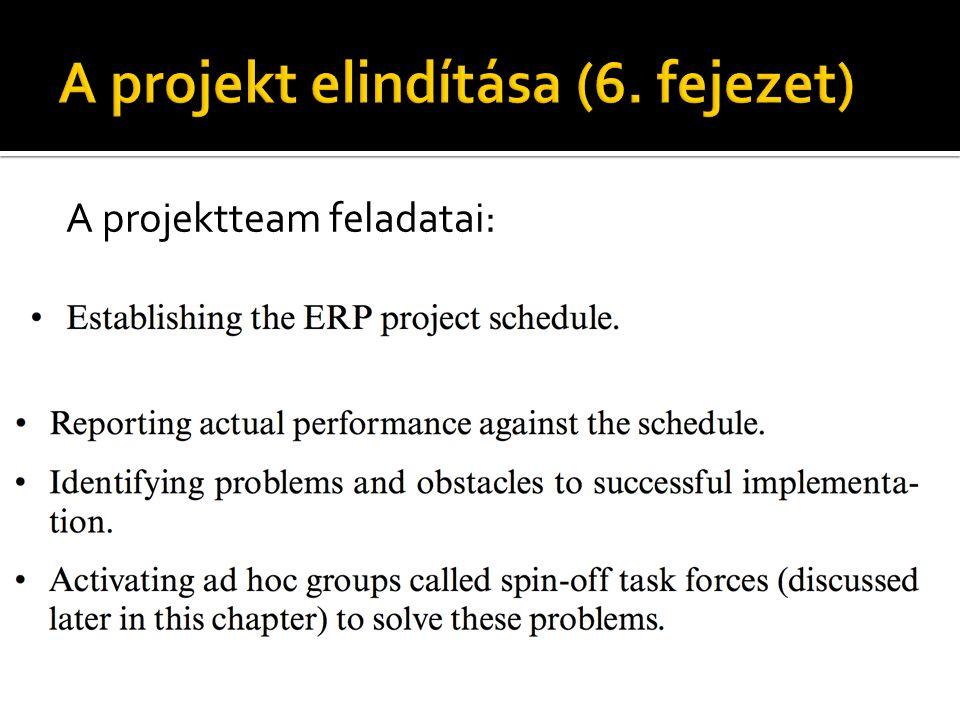 A projektteam feladatai: