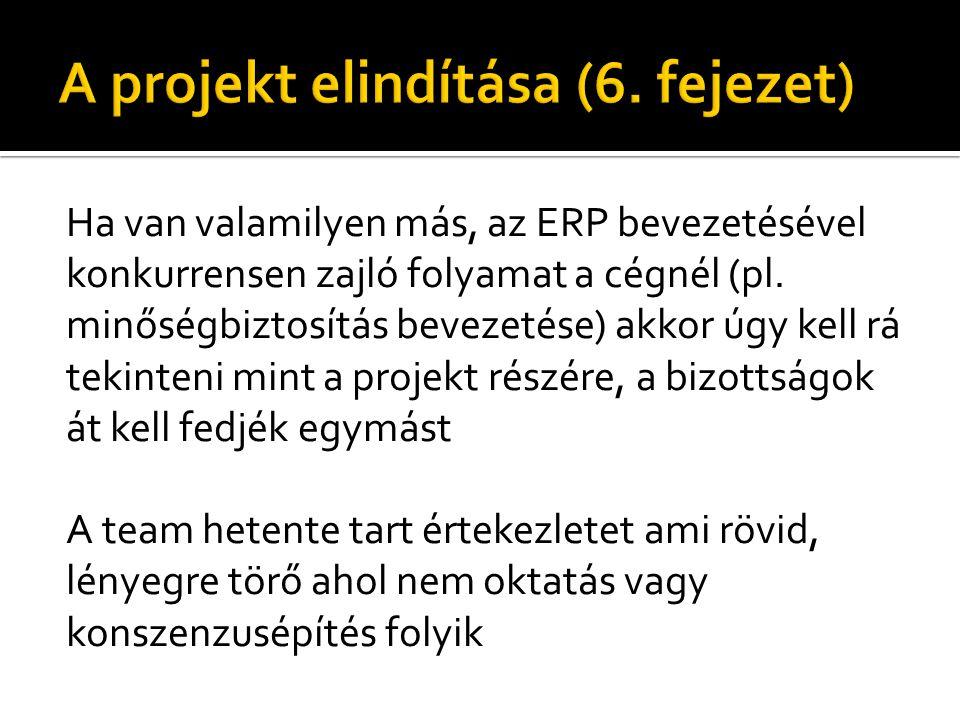 Ha van valamilyen más, az ERP bevezetésével konkurrensen zajló folyamat a cégnél (pl.