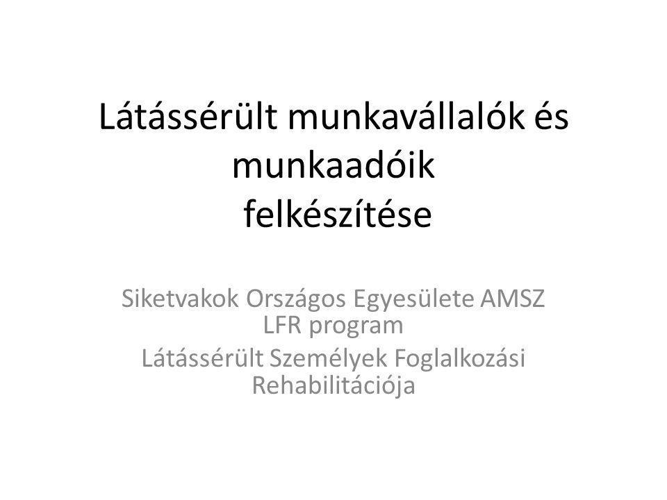 Látássérült munkavállalók és munkaadóik felkészítése Siketvakok Országos Egyesülete AMSZ LFR program Látássérült Személyek Foglalkozási Rehabilitációja