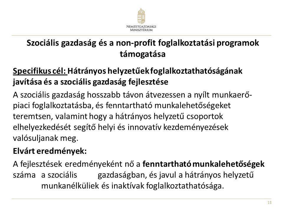 18 Szociális gazdaság és a non-profit foglalkoztatási programok támogatása Specifikus cél: Hátrányos helyzetűek foglalkoztathatóságának javítása és a