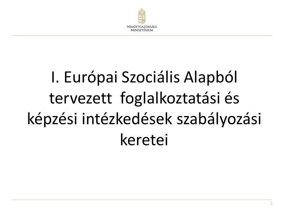 2 I. Európai Szociális Alapból tervezett foglalkoztatási és képzési intézkedések szabályozási keretei