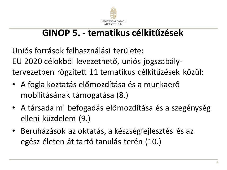 4 GINOP 5. - tematikus célkitűzések Uniós források felhasználási területe: EU 2020 célokból levezethető, uniós jogszabály- tervezetben rögzített 11 te