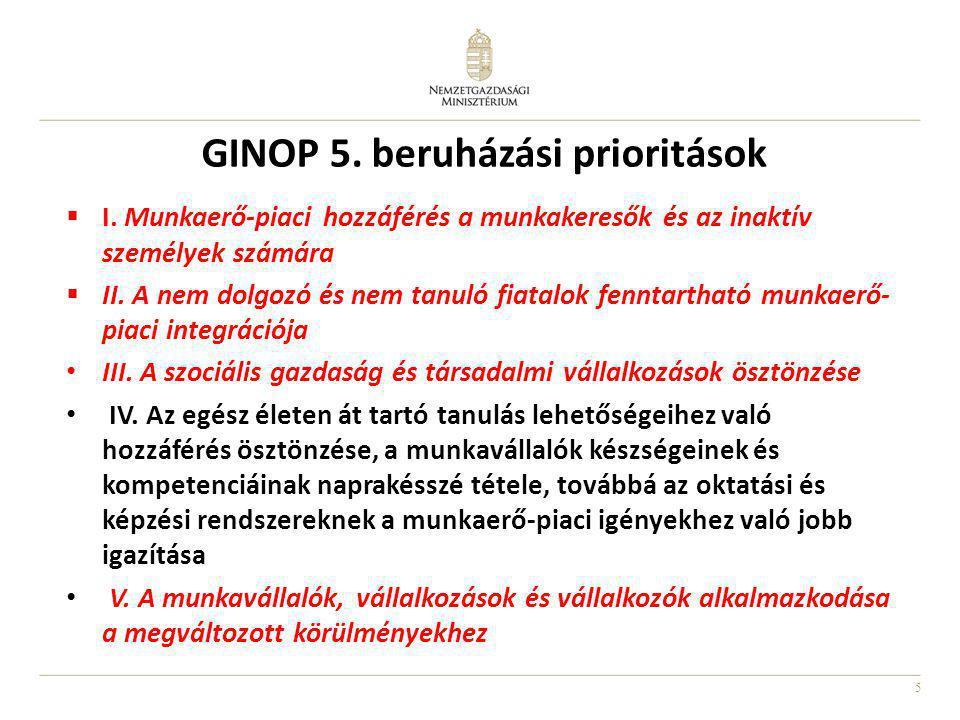 5 GINOP 5. beruházási prioritások  I. Munkaerő-piaci hozzáférés a munkakeresők és az inaktív személyek számára  II. A nem dolgozó és nem tanuló fiat