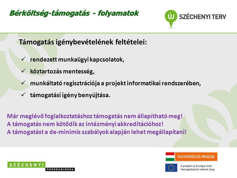 Támogatás igénybevételének feltételei:  rendezett munkaügyi kapcsolatok,  köztartozás mentesség,  munkáltató regisztrációja a projekt informatikai