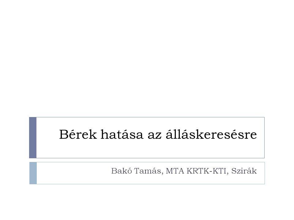 Bérek hatása az álláskeresésre Bakó Tamás, MTA KRTK-KTI, Szirák