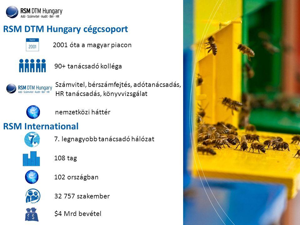 RSM DTM Hungary cégcsoport nemzetközi háttér $4 Mrd bevétel RSM International 2001 óta a magyar piacon 90+ tanácsadó kolléga 7.