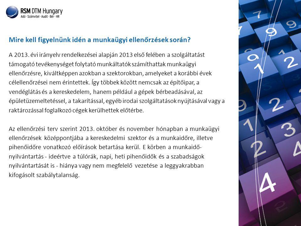 A 2013. évi irányelv rendelkezései alapján 2013 első felében a szolgáltatást támogató tevékenységet folytató munkáltatók számíthattak munkaügyi ellenő