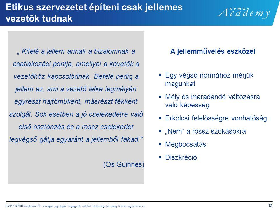 © 2012 KPMG Akadémia Kft., a magyar jog alapján bejegyzett korlátolt felelősségű társaság. Minden jog fenntartva. 12 Etikus szervezetet építeni csak j