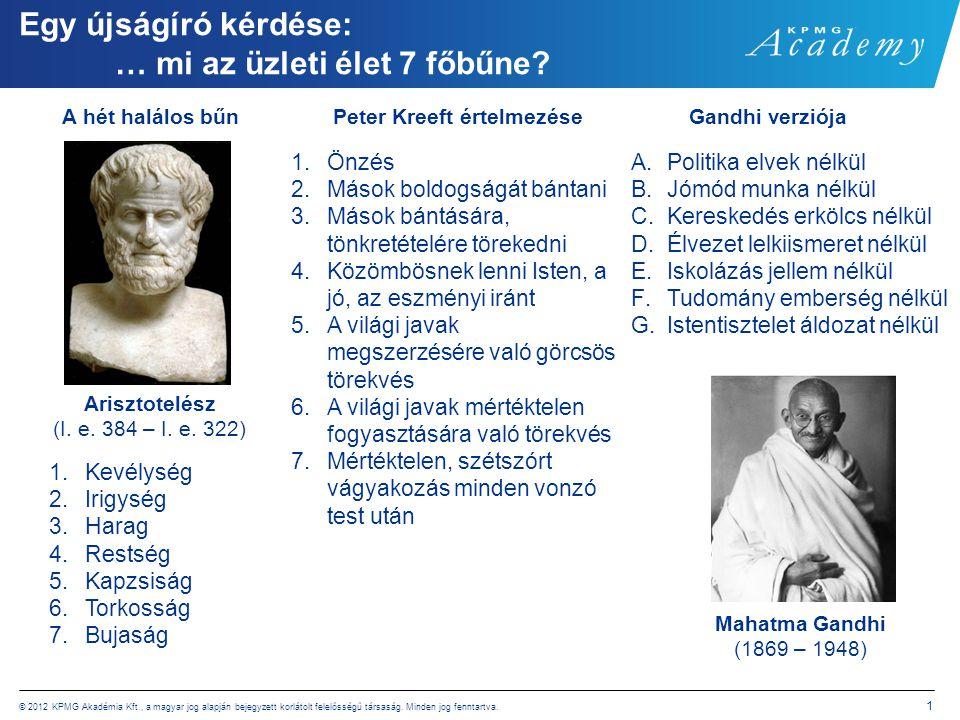 © 2012 KPMG Akadémia Kft., a magyar jog alapján bejegyzett korlátolt felelősségű társaság. Minden jog fenntartva. 1 Egy újságíró kérdése: … mi az üzle
