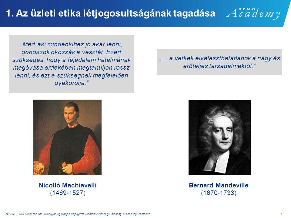 © 2012 KPMG Akadémia Kft., a magyar jog alapján bejegyzett korlátolt felelősségű társaság. Minden jog fenntartva. 4 1. Az üzleti etika létjogosultságá