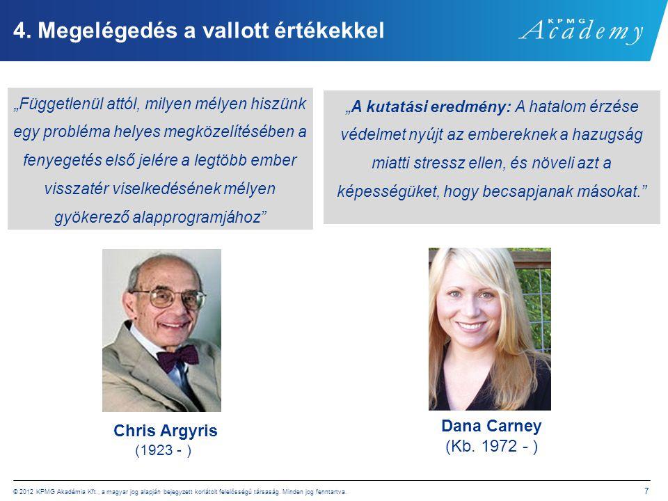 © 2012 KPMG Akadémia Kft., a magyar jog alapján bejegyzett korlátolt felelősségű társaság. Minden jog fenntartva. 7 4. Megelégedés a vallott értékekke