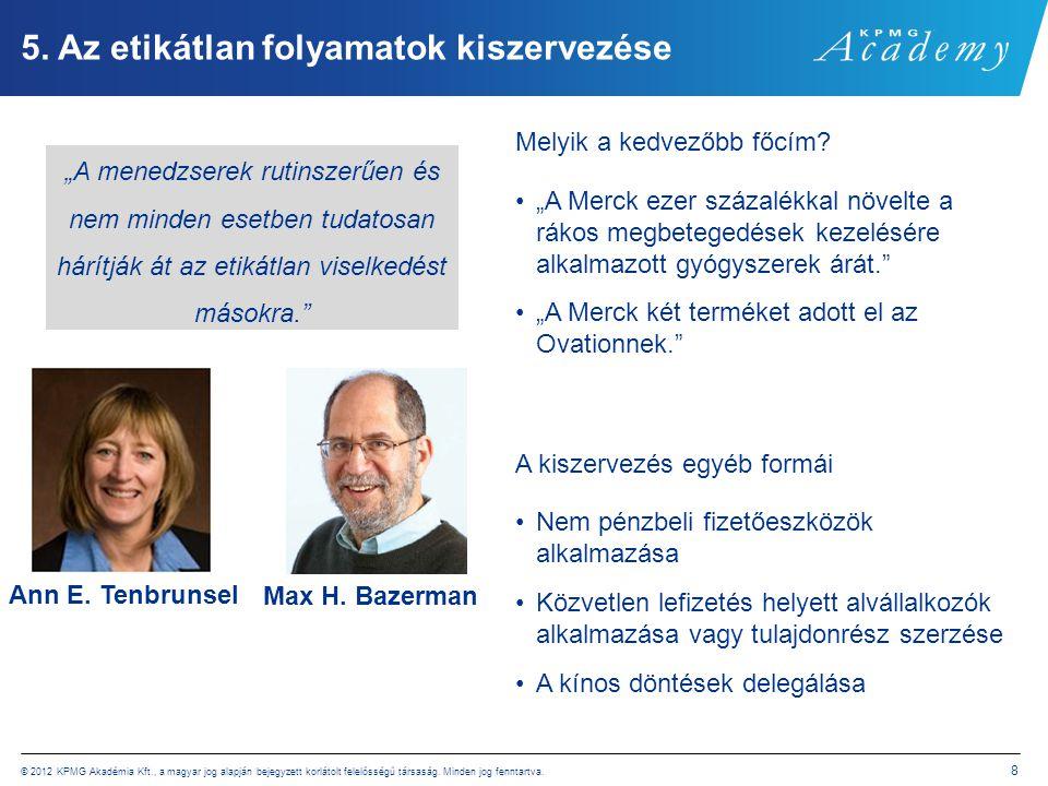© 2012 KPMG Akadémia Kft., a magyar jog alapján bejegyzett korlátolt felelősségű társaság. Minden jog fenntartva. 8 5. Az etikátlan folyamatok kiszerv