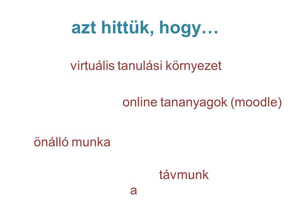 azt hittük, hogy… távmunk a virtuális tanulási környezet online tananyagok (moodle) önálló munka