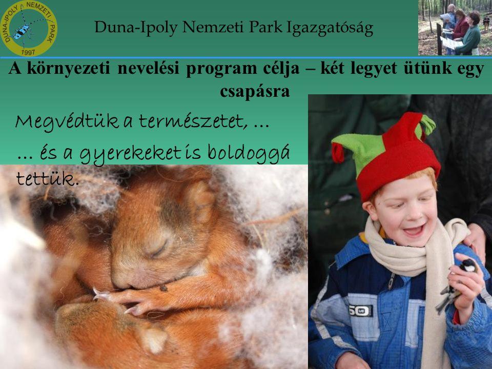 Duna-Ipoly Nemzeti Park Igazgatóság A környezeti nevelési program célja – két legyet ütünk egy csapásra Megvédtük a természetet, … … és a gyerekeket i