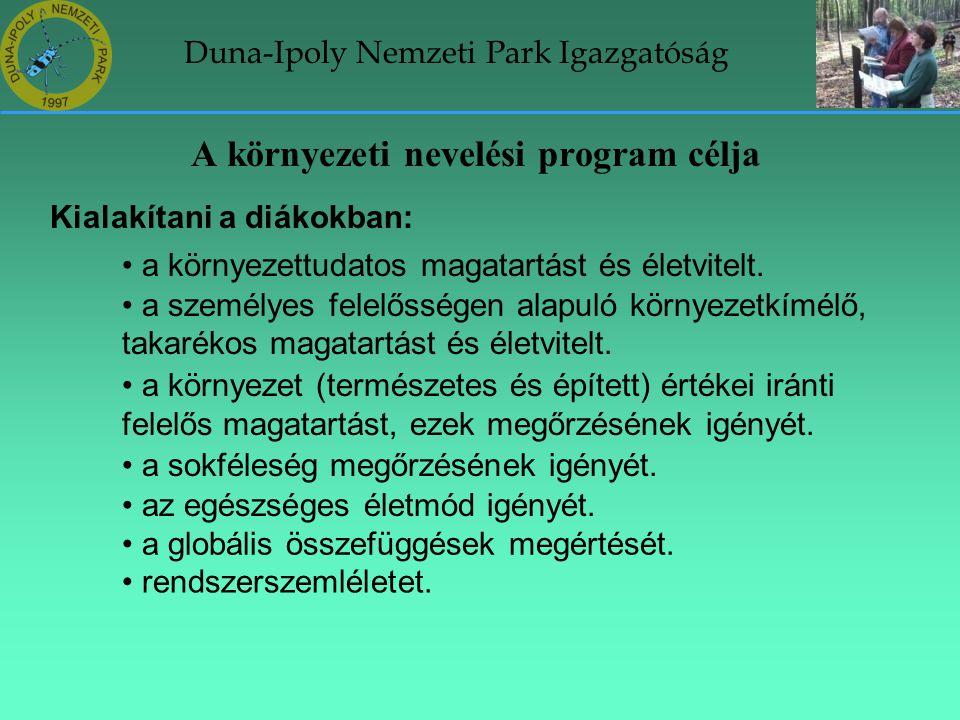 Duna-Ipoly Nemzeti Park Igazgatóság A környezeti nevelési program célja Kialakítani a diákokban: • a környezettudatos magatartást és életvitelt. • a s