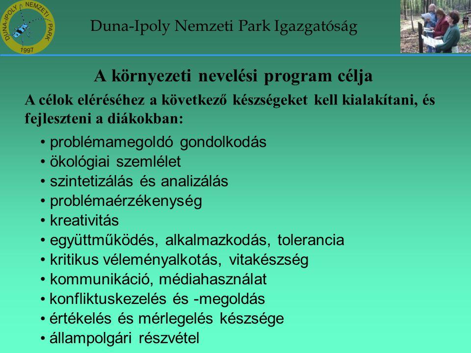 Duna-Ipoly Nemzeti Park Igazgatóság A környezeti nevelési program célja A célok eléréséhez a következő készségeket kell kialakítani, és fejleszteni a