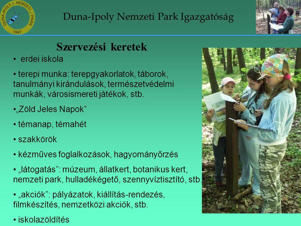 Duna-Ipoly Nemzeti Park Igazgatóság Szervezési keretek • erdei iskola • terepi munka: terepgyakorlatok, táborok, tanulmányi kirándulások, természetvéd