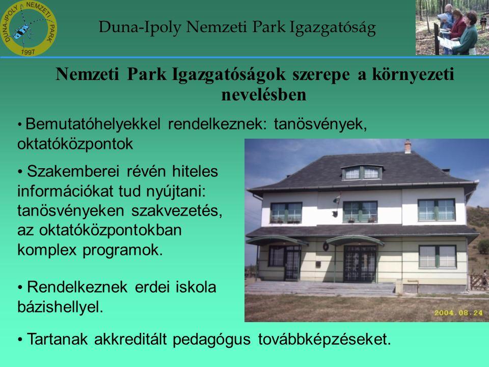 Duna-Ipoly Nemzeti Park Igazgatóság Nemzeti Park Igazgatóságok szerepe a környezeti nevelésben • Bemutatóhelyekkel rendelkeznek: tanösvények, oktatókö