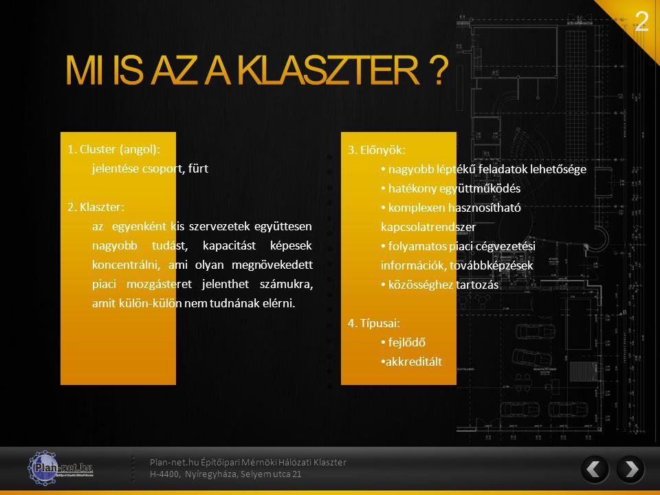 1. Cluster (angol): jelentése csoport, fürt 2. Klaszter: az egyenként kis szervezetek együttesen nagyobb tudást, kapacitást képesek koncentrálni, ami
