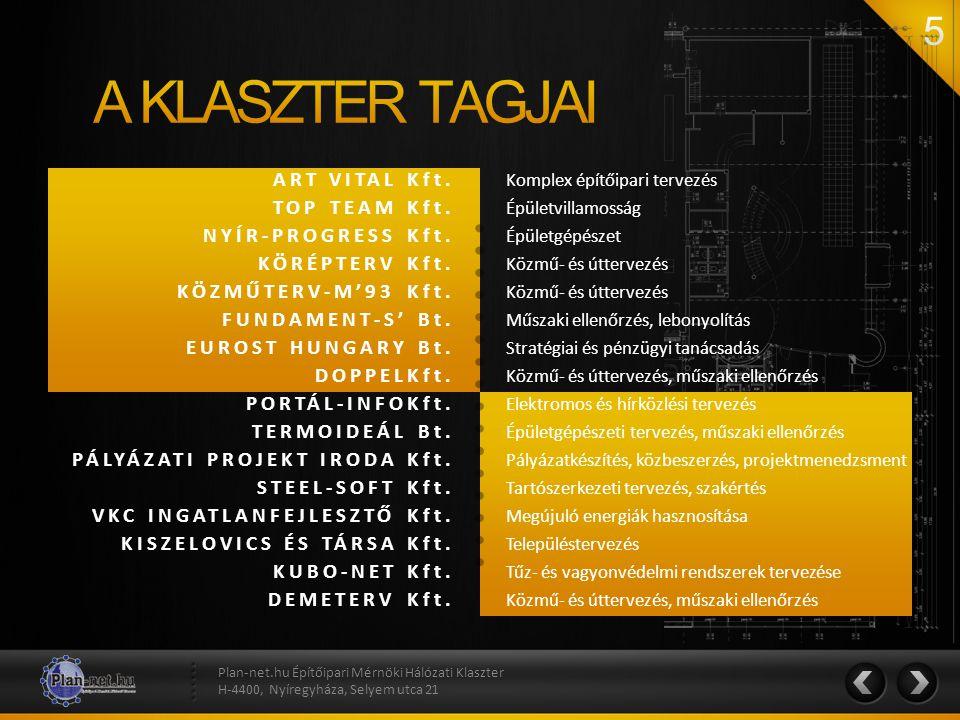 ART VITAL Kft. TOP TEAM Kft. NYÍR-PROGRESS Kft. KÖRÉPTERV Kft. KÖZMŰTERV-M'93 Kft. FUNDAMENT-S' Bt. EUROST HUNGARY Bt. DOPPELKft. PORTÁL-INFOKft. TERM