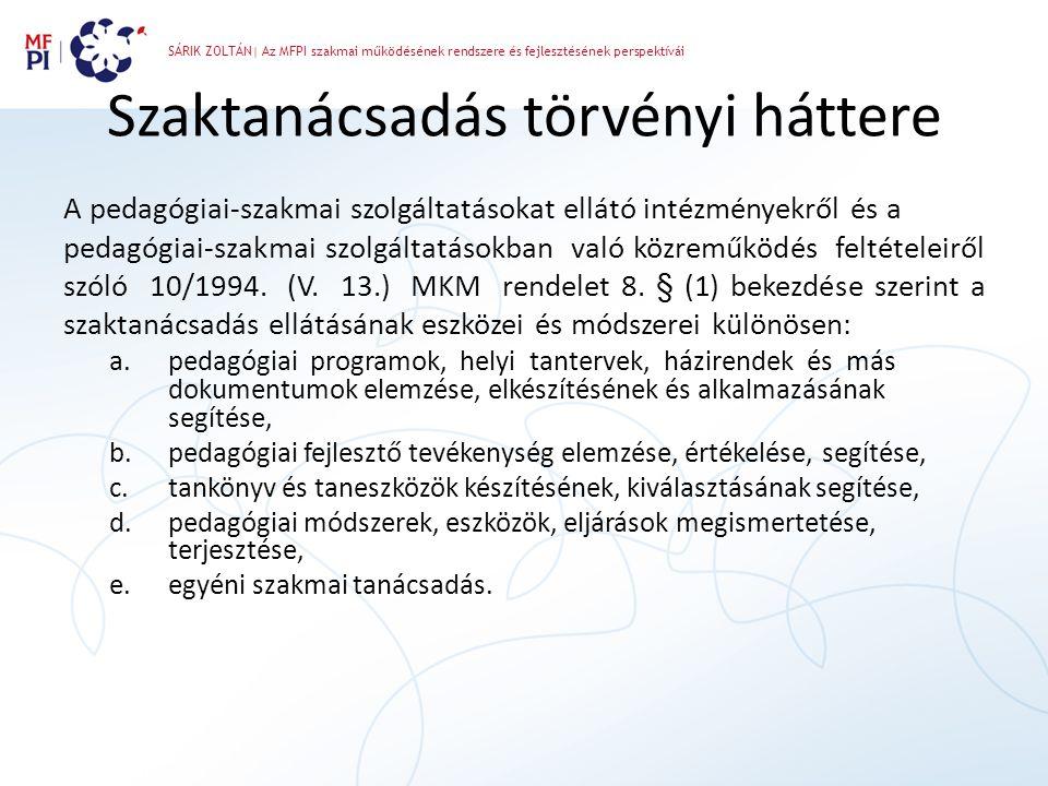 SÁRIK ZOLTÁN| Az MFPI szakmai működésének rendszere és fejlesztésének perspektívái Szaktanácsadás törvényi háttere A pedagógiai-szakmai szolgáltatások