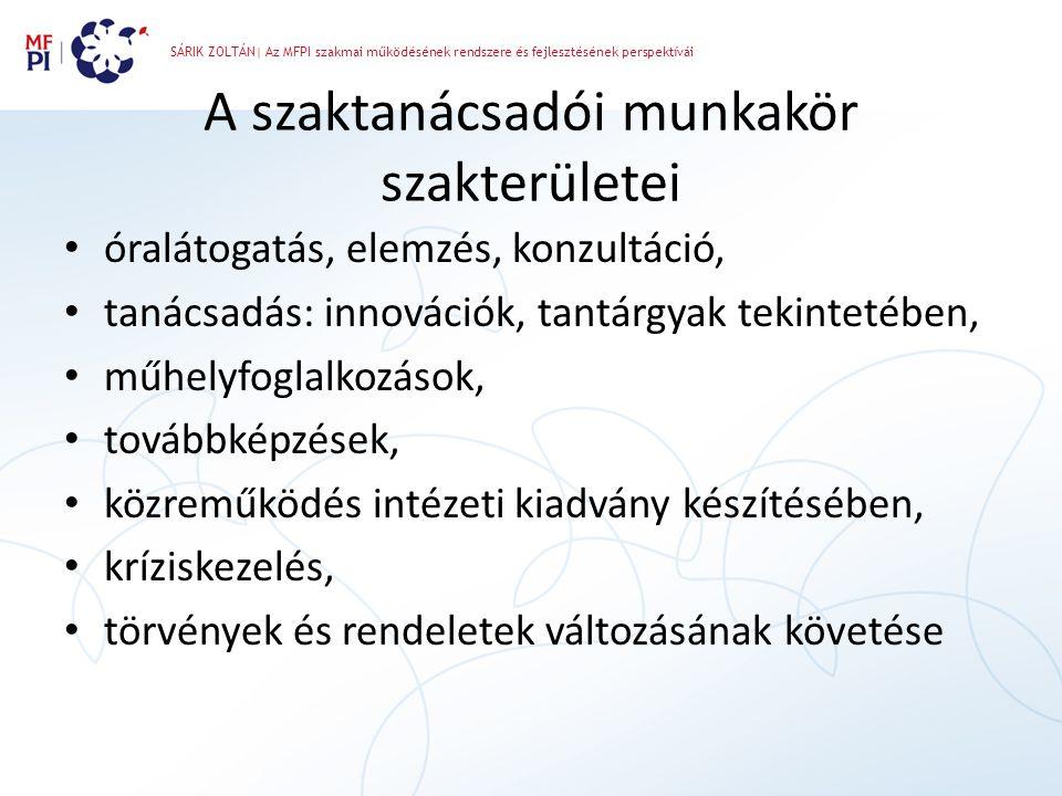 SÁRIK ZOLTÁN| Az MFPI szakmai működésének rendszere és fejlesztésének perspektívái A szaktanácsadói munkakör szakterületei • óralátogatás, elemzés, ko
