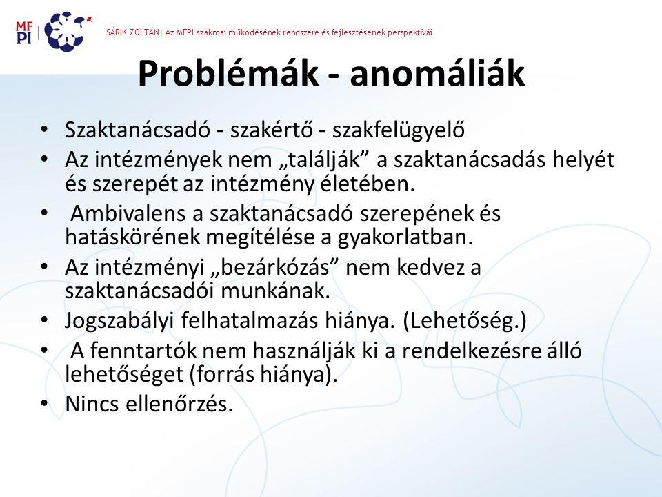 SÁRIK ZOLTÁN| Az MFPI szakmai működésének rendszere és fejlesztésének perspektívái Problémák - anomáliák • Szaktanácsadó - szakértő - szakfelügyelő •