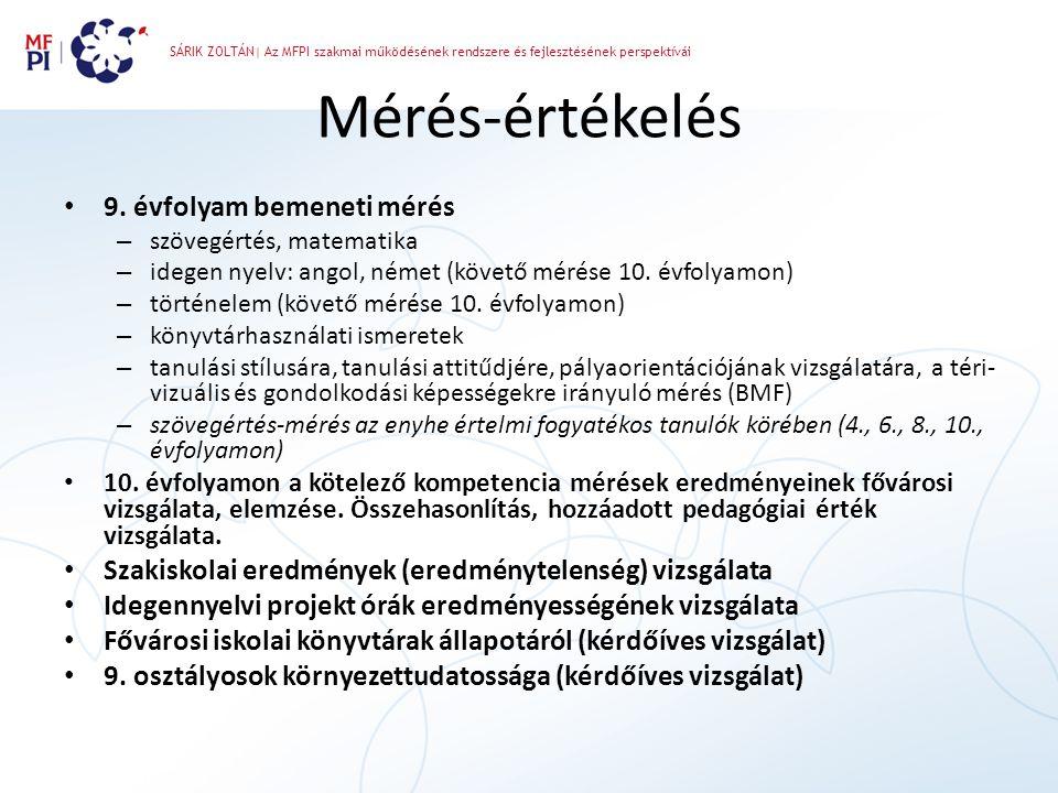 SÁRIK ZOLTÁN| Az MFPI szakmai működésének rendszere és fejlesztésének perspektívái Mérés-értékelés • 9. évfolyam bemeneti mérés – szövegértés, matemat