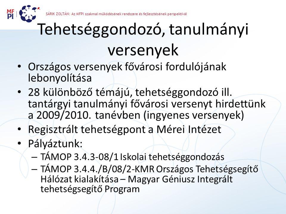 SÁRIK ZOLTÁN| Az MFPI szakmai működésének rendszere és fejlesztésének perspektívái Tehetséggondozó, tanulmányi versenyek • Országos versenyek fővárosi