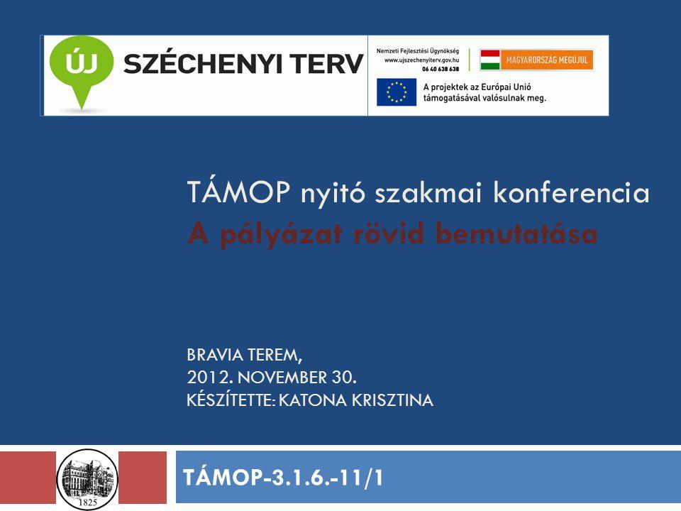 TÁMOP nyitó szakmai konferencia A pályázat rövid bemutatása BRAVIA TEREM, 2012.